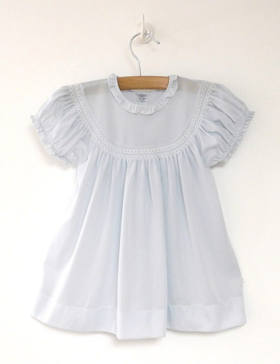 Vintage Baby Clothes 1950's Aqua Blue and White Lace Baby  |1950 Baby Stuff