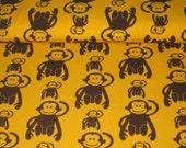 50cm Jersey mit Affen in braun auf gelb gemusterten Stoff