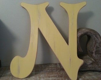Decorative Wooden Wall Letter 'N' - Any Colour - Victorian Style - 8""
