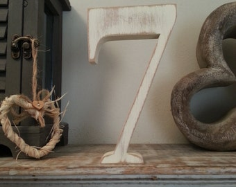 Decorative Freestanding Wedding Table Numbers - Georgian Font - 20cm high - Number 7
