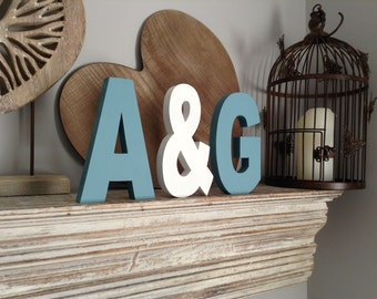 Wooden Wedding Letters - Freestanding - Set of 3 - Photo Props - 25cm, hand-painted