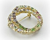 Vintage Pastel Rhinestone Brooch Pin, Multi-Colored Crystal Brooch, Gold Eternity Circle Wreath Brooch, 1950s Antique Costume Jewelry