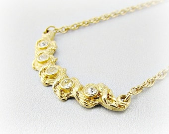 Vintage Gold Nugget Necklace, Clear Rhinestone Necklace, Modernist Abstract Gold Necklace, Delicate Gold Necklace, 1970s Modern Jewelry