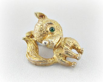 Vintage Gold Fox Brooch Pin, Little Fox Brooch, Green Rhinestone, Woodland Animal Figural Jewelry, 1950s Costume Jewelry, Gift for Mom