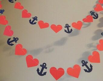 Nautical Wedding Garland - 10ft Red and Navy Nautical Banner - Anchor Heart Garland - Beach Wedding Decor- your color choice