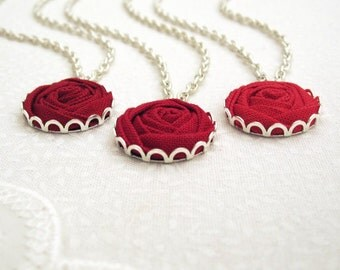 Bridesmaid Necklace - Red Rose Necklace - Set of 3 Fabric Flower Necklaces in Ruby, Scarlet & Crimson