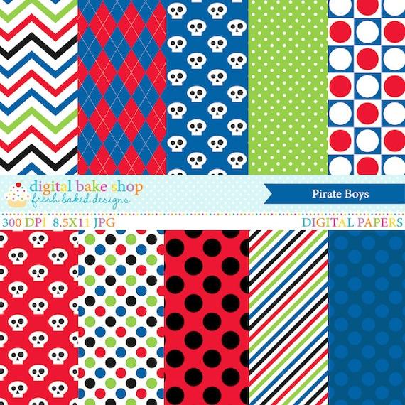 pirates digital paper boys polkadot polka dot stripes - Pirate Boys Digital Papers