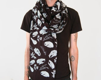 Skull and Herb Black Jersey Screen Print Punk Collage Scarf