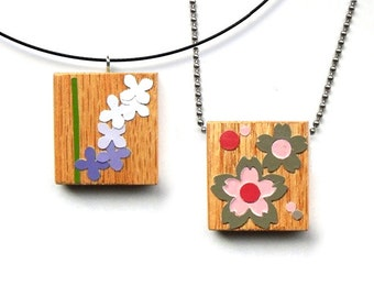 One of a kind Pendant - Flowers / Cherry Blossoms / Sakura Wooden Charm