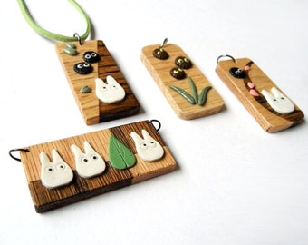 One of a kind Pendant / Charm / Tag - My Neighbor Totoro / Soots / Leaf / Nut / Plant
