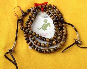 Tiger eyes Buddhist Tibetan 108 Beads Prayer Mala with Taiwanese Counter