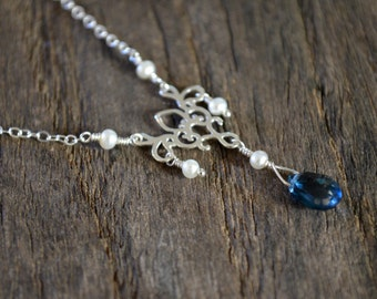 Silver Chandelier Necklace, London Blue Topaz Pendant, Freshwater Seed Pearls