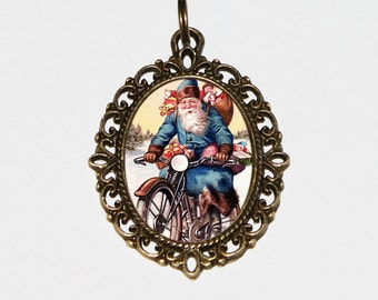 Santa Motorcycle Necklace, Christmas Jewelry, Santa Pendant, Bronze Oval Pendant