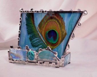 Custom - Business Card Holder - Peacock Feathers - Peacock Decor - Made To Order - Desk Art