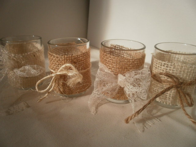 Votive candle holders with a burlap wrap rustic wedding shabby for Bougeoir shabby chic