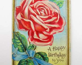 Vintage Pink Rose Birthday Postcard Postmarked 1911