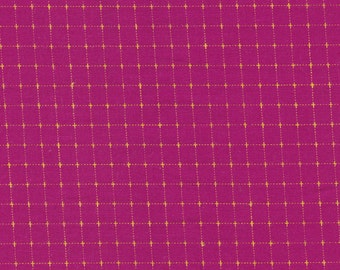 Kona Creative Thread Fabric, Hot Pink with Yellow Thread, Cotton