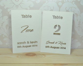 Laser Cut Typographic Wedding Table Cards - 15 Pack