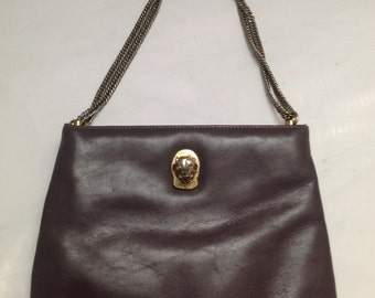 Vintage Ruth Saltz Aubergine Leather Cougar Handbag Purse