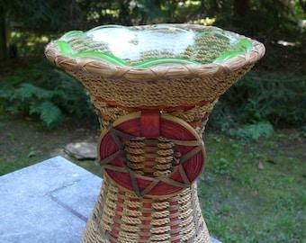 American Indian Basket Woven Around Glass Vase Maine