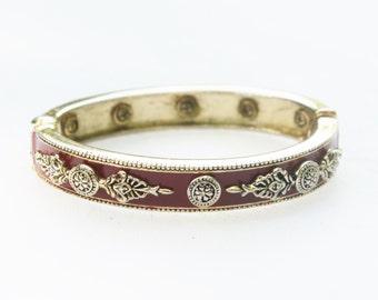 Vintage Gold Red Enamel Bangle with Ornate Gold Designs