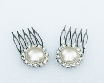 Pearl and Rhinestone Hair Comb Pair- Bridal, Wedding, Prom