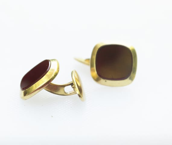 Amerikaner Gold and Carnelian Cuff Links, Vintage, Groom