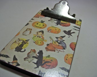 Witch Cat Owl Clipboard Decoupaged