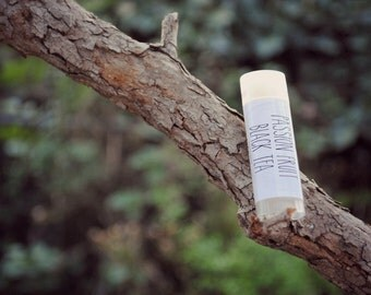 Passion Fruit Black Tea Lip Balm, Beeswax, Coconut Oil, Passionfruit, Tea, Lip Balm Tube