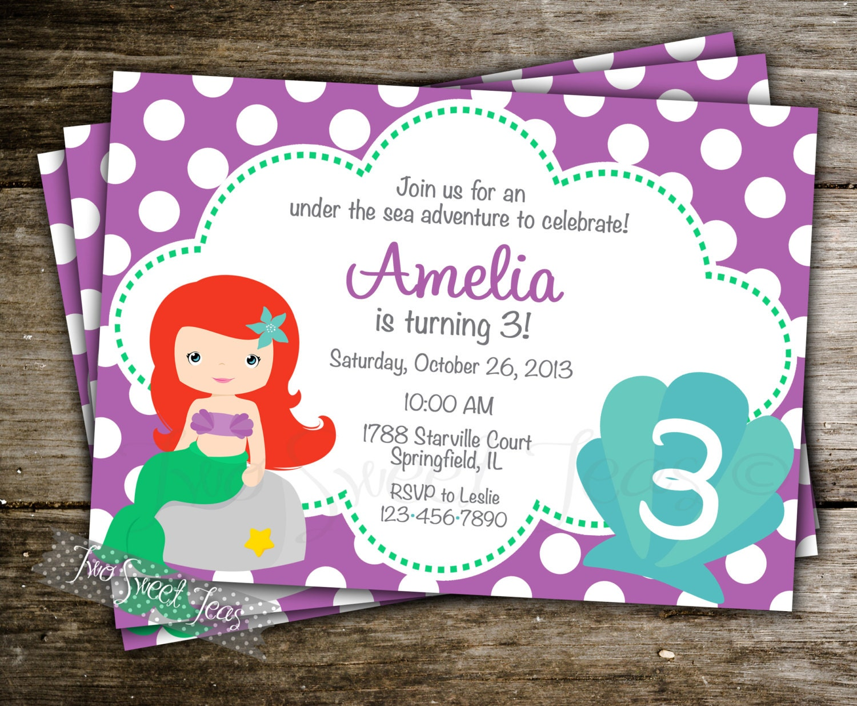Little Mermaid Birthday Invitations Free Printables is perfect invitations sample