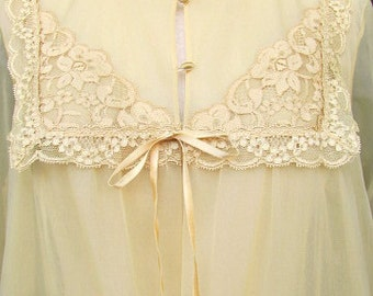 vintage 60s vanity fair double sheer chiffon long peignor robe golden champagne mad men