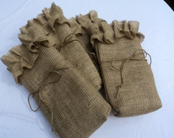 Set of 6 Burlap Wine Bags Bridemaids Champagne Burlap Bags