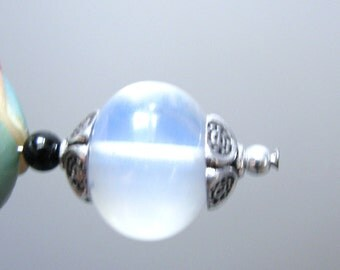 HALF STRAND, Smooth Milky Blue Opalite Smooth Rondelles, Translucent, Drilled, Faux Moonstone large size approx. 15x10mm