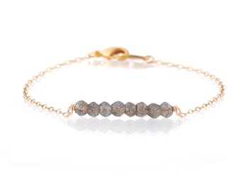 Faceted labradorite on a Delicate Gold Chain Bracelet