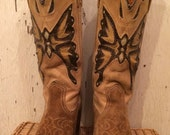 Miss Capezio Tan Cowgirl Boots with Butterfly Inlays size 7