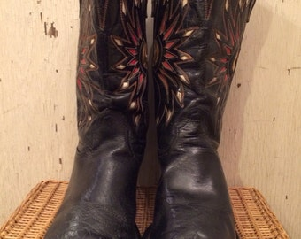 1950s Acme Black Cowboy Boots with Red Gold and White Inlays size 10 1/2
