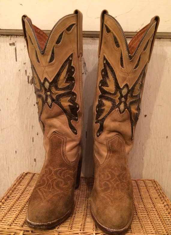 Capezio Tan Cowgirl Boots with Butterfly Inlays size 7