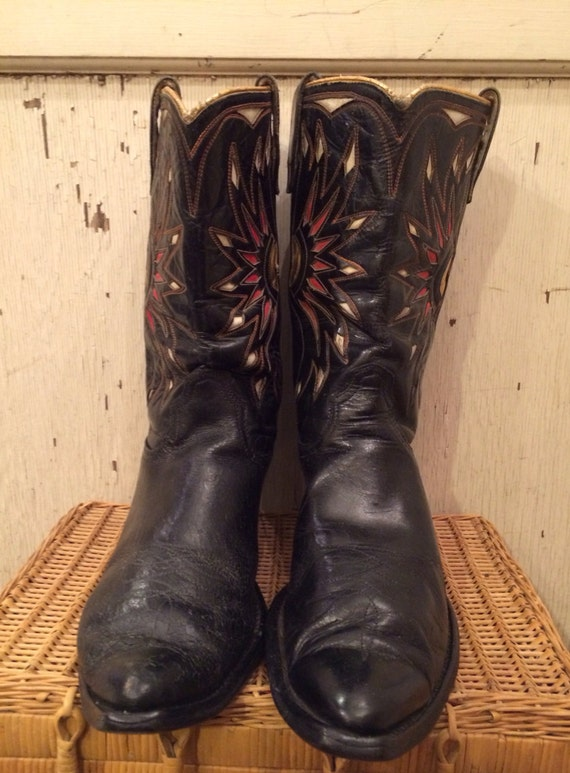 1950s acme black cowboy boots with gold and white inlays