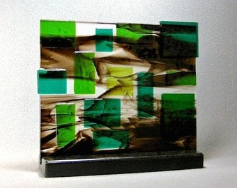 Abstract Mid Century Modern Fused Art Glass Sculpture  Dappled Light Artist Signed
