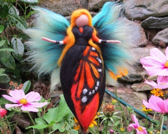 Butterfly Fairy needle felted and waldorf inspried