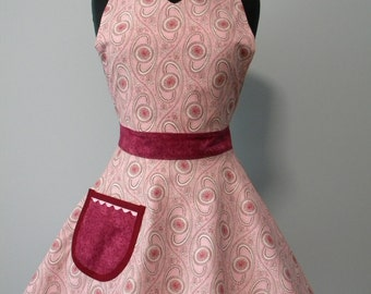 SALE-Womens Apron-Shades of Pink Swirly Paisley Full Sweetheart Apron-30% OFF