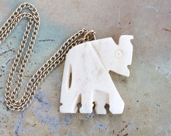 Carved Bone Elephant Necklace - Antique Charm on a Chain - Boho Jewelry - Souvenir from Africa
