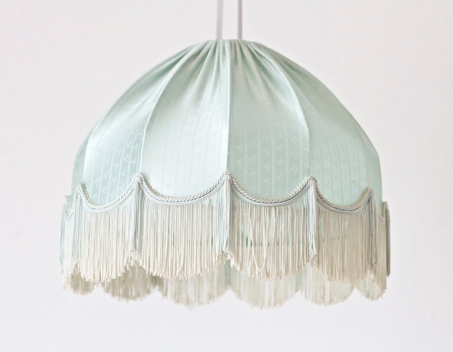 french boudoir fringe lamp shade in light turquoise by meanglean. Black Bedroom Furniture Sets. Home Design Ideas