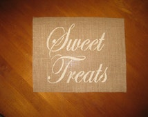 """SWEET TREATS 8x10"""" Burlap INSERT for Frame. Great for Sweets Table, Candy Bar, Ice Cream Station. - Shabby Chic Birthday parties, Weddings"""