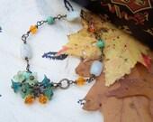 Wire Wrapped Flower Bracelet Jasper Swarovski Turquoise