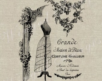Vintage French Fashion Ad Instant Download Digital Image No.31 Iron-On Transfer to Fabric (burlap, linen) Paper Prints (cards, tags)