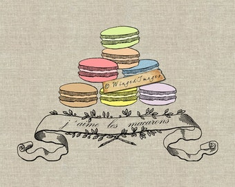 French J'aime les Macarons. Instant Download Digital Image No.149 Iron-On Transfer to Fabric (burlap, linen) Paper Prints (cards, tags)