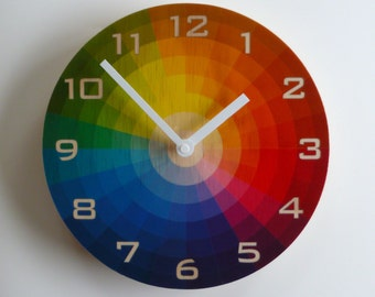 Objectify Color Wheel Wall Clock With Numerals - Medium Size