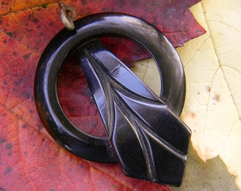 Carved Circular Black Art Deco Bakelite Pendant