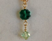 Lil Bit of Luck - 14kt gold-filled necklace with Swarovski clover pendant in emerald green